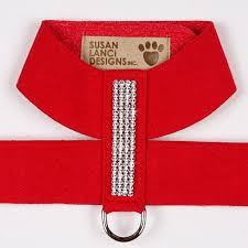 Luxury Dog Harness Red Ultrasuede® Swarovski® Crystals