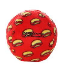 Mighty Dog Toy Ball Red with Hot Dogs