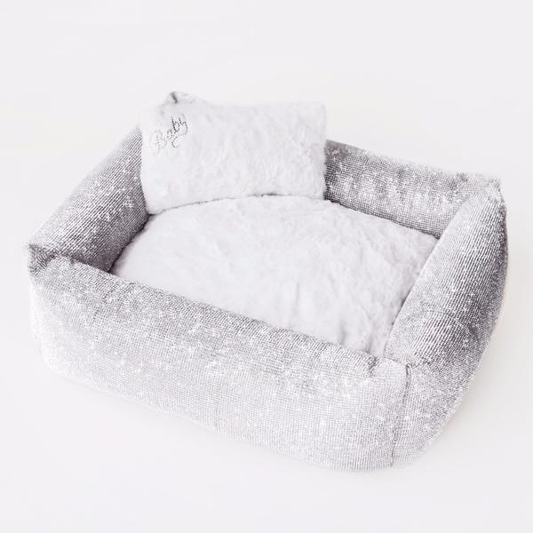 Luxury Designer Dog Bed Silver Crystals