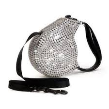 Dog Retractable Leash Silver Crystals by Parisian Pet