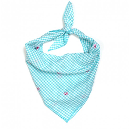 Dog Bandana Embroidered Turquoise White Check Pink Flamingo