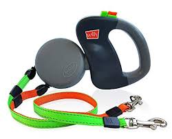 Dog Leash Dual Doggie Retractable Leash, Green/Orange leads by Wigzi