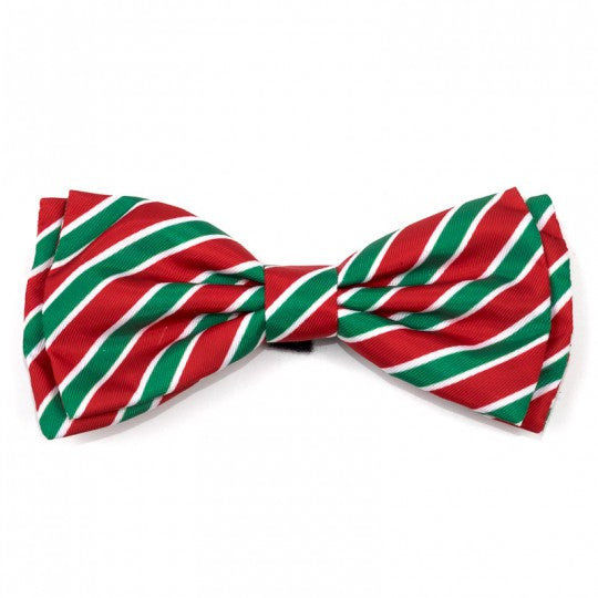 Dog Bow Tie Holiday Red Green Stripe Collar Attachment