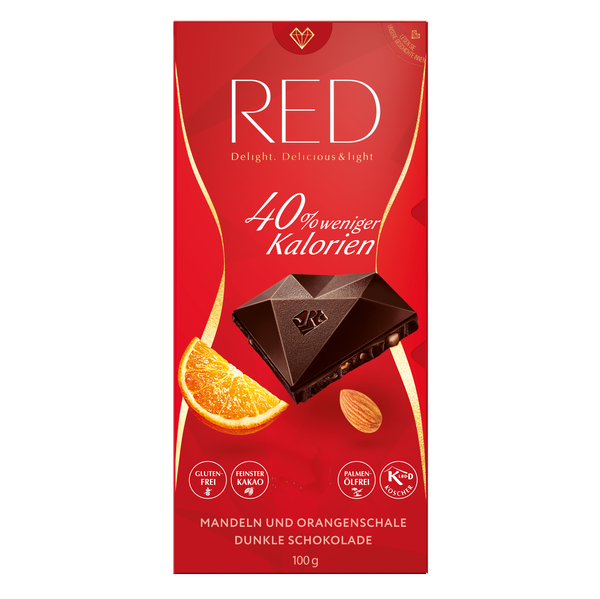 RED dark chocolate with almonds and orange peel 100g (2,99 € / 100g)