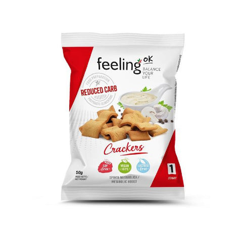 FeelingOK Protein Crackers Naturale <span>50g (5,98€/100g)</span> - KetoUp Onlineshop