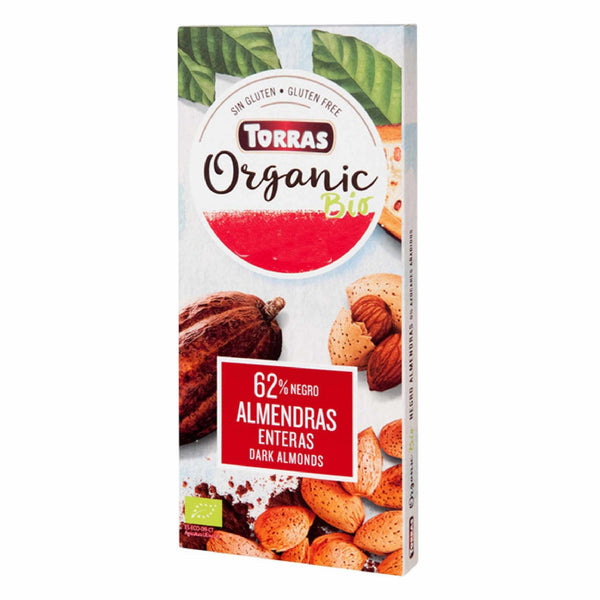 Torras Organic Bio Chocolate Dark Chocolate 62% with Almonds 150g (2,66 € / 100g) - KetoUp Onlineshop