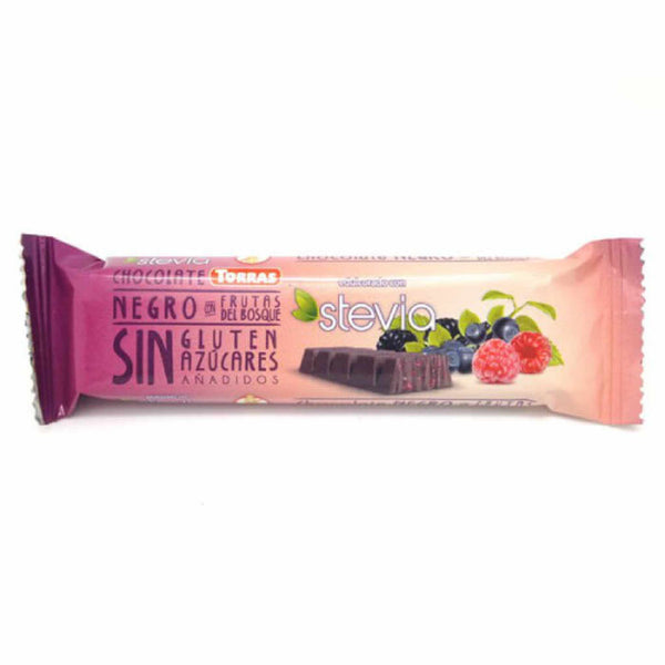 Torras Stevia sugar-free chocolate bar Dark Chocolate with forest fruit 35g (3,69 € / 100g) - KetoUp online shop