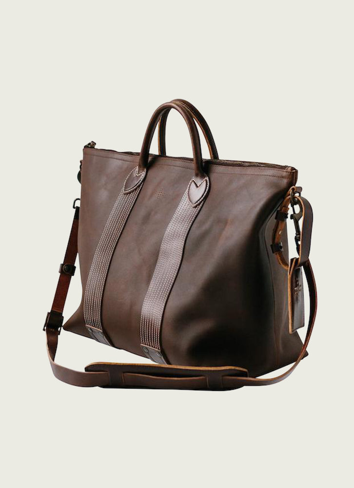 Leather Travel Tote at angle
