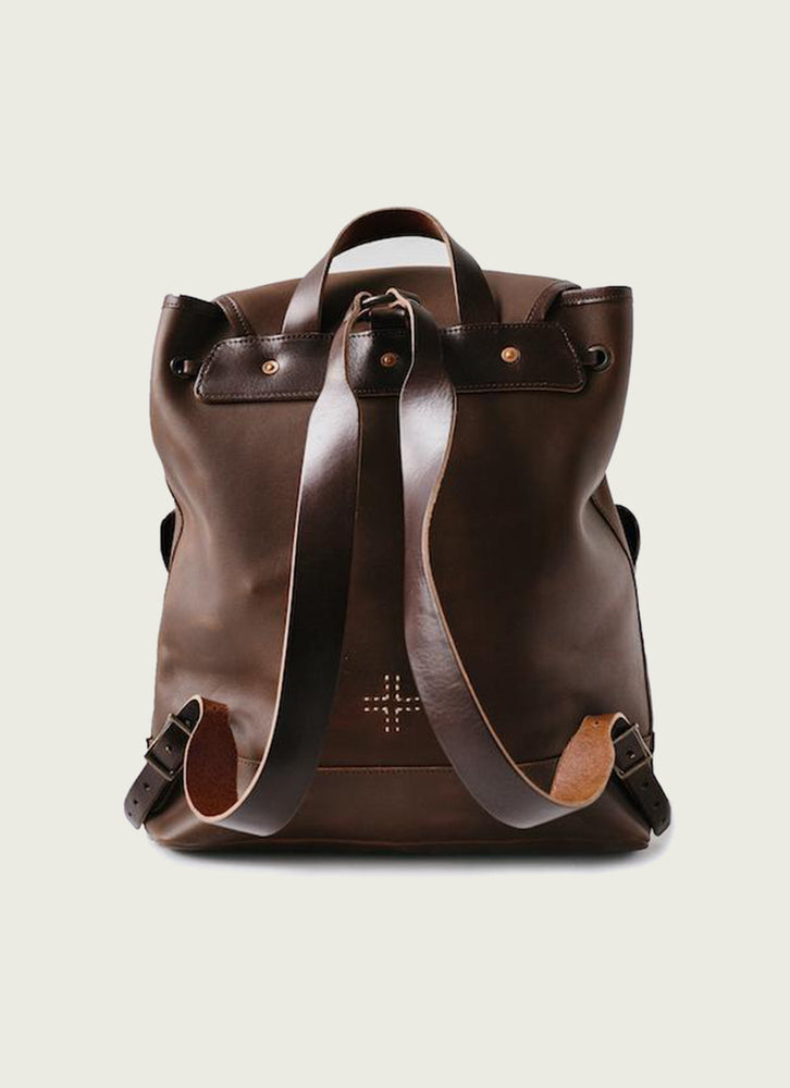 Leather Rucksack in Brown from Rear