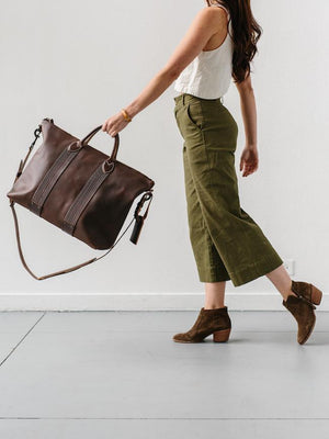 Leather Travel Tote in Brown