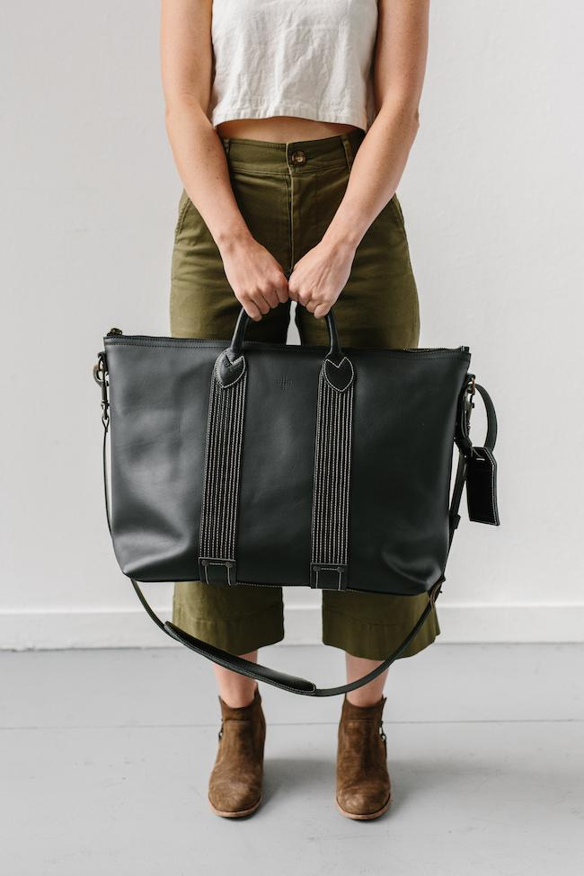 Leather Travel Tote in Black