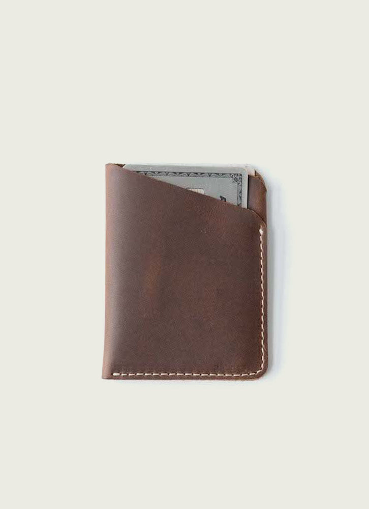 Slim wallet in brown
