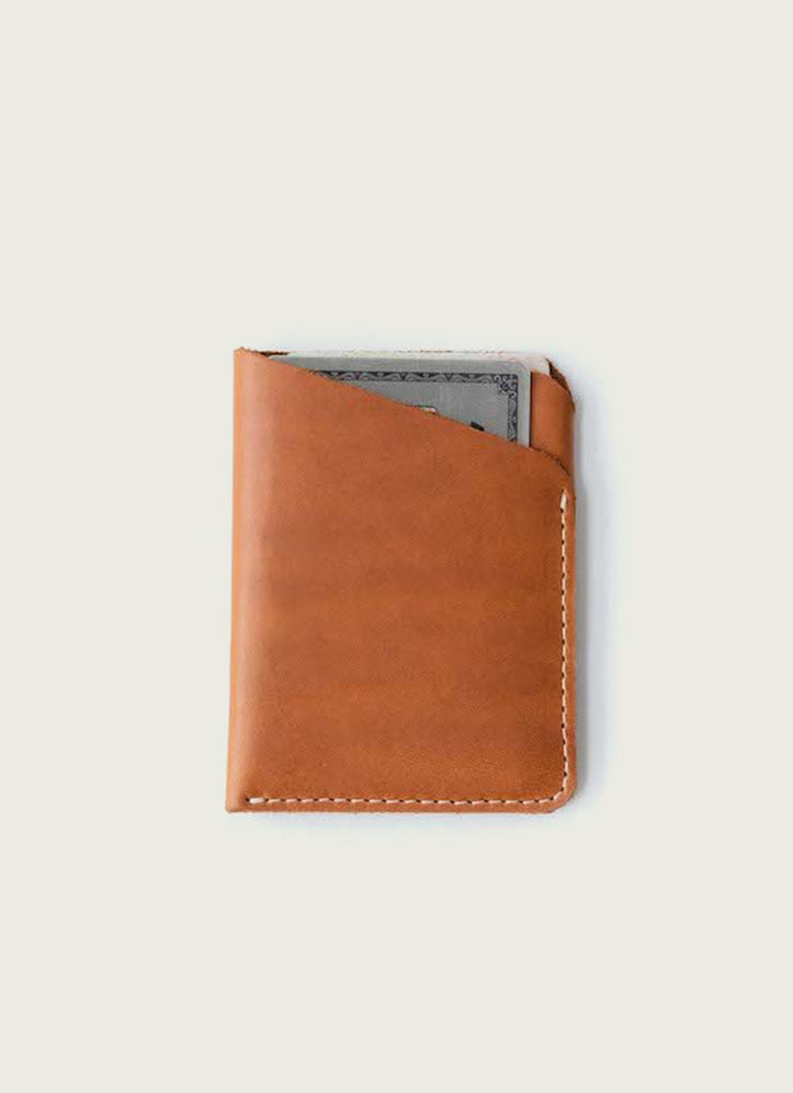 slim wallet in tan