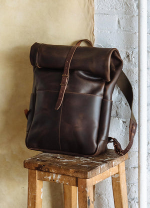 Roll Top Backpack, Brown