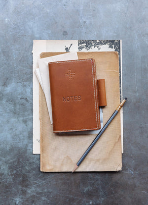 Leather Notepad Cover, Tan