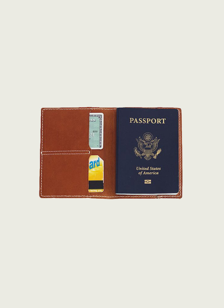 Leather passport wallet in tan