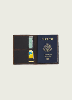 Leather Passport Wallet Brown