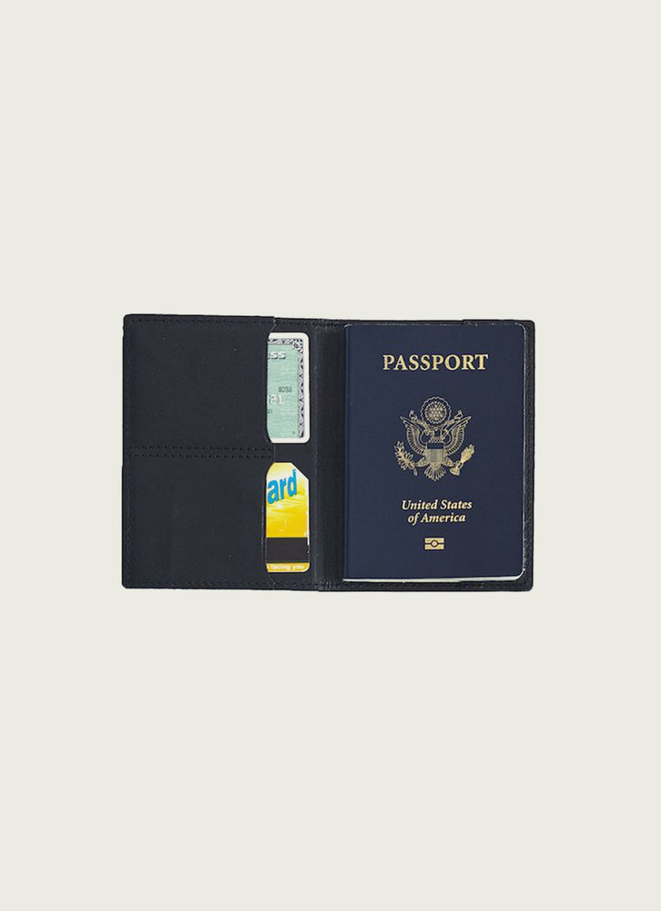 Leather Passport Wallet Black