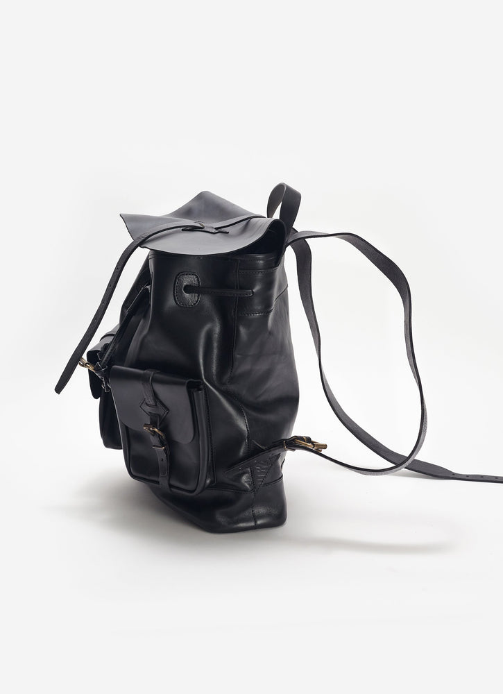Leather Rucksack Backpack, Black