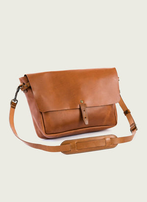 Vintage Leather Messenger Bag, Tan