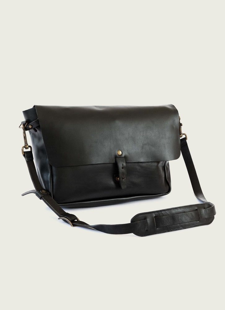Vintage Leather Messenger Bag, Black