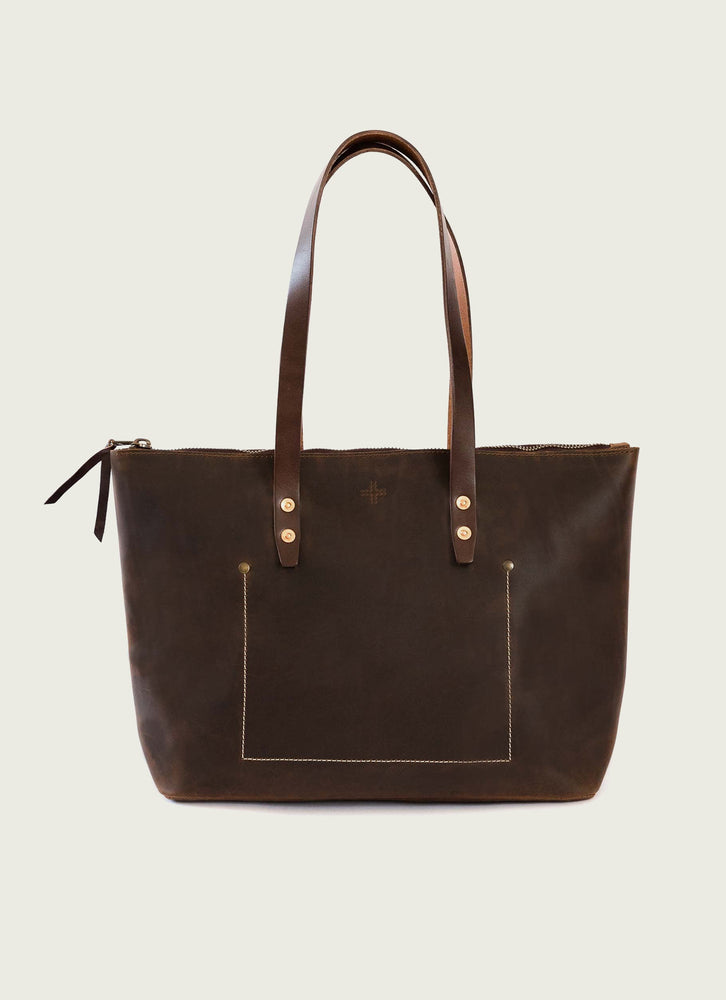 Leather Tote Bag in Brown