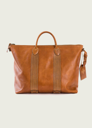 Leather Travel Tote in Tan
