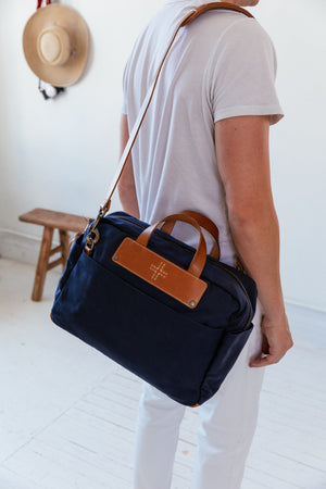 Canvas Briefcase, Blue