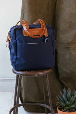 Canvas shoulder tote blue