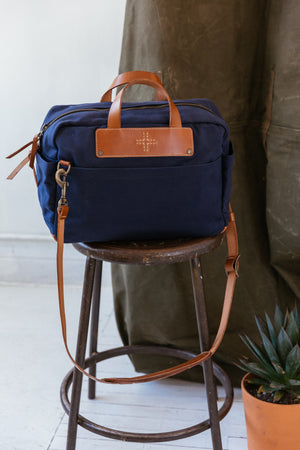 Blue Canvas Briefcase