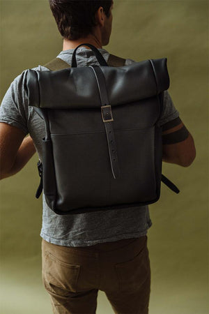 Roll Top Backpack in Black