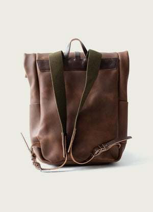 Brown Roll Top Backpack