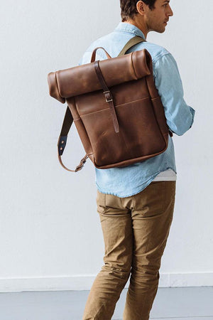 Roll Top Backpack in Brown Leather
