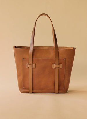 The Cargo Tote tan background