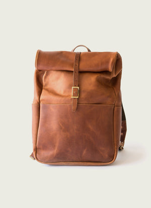 Roll Top Backpack, Tan