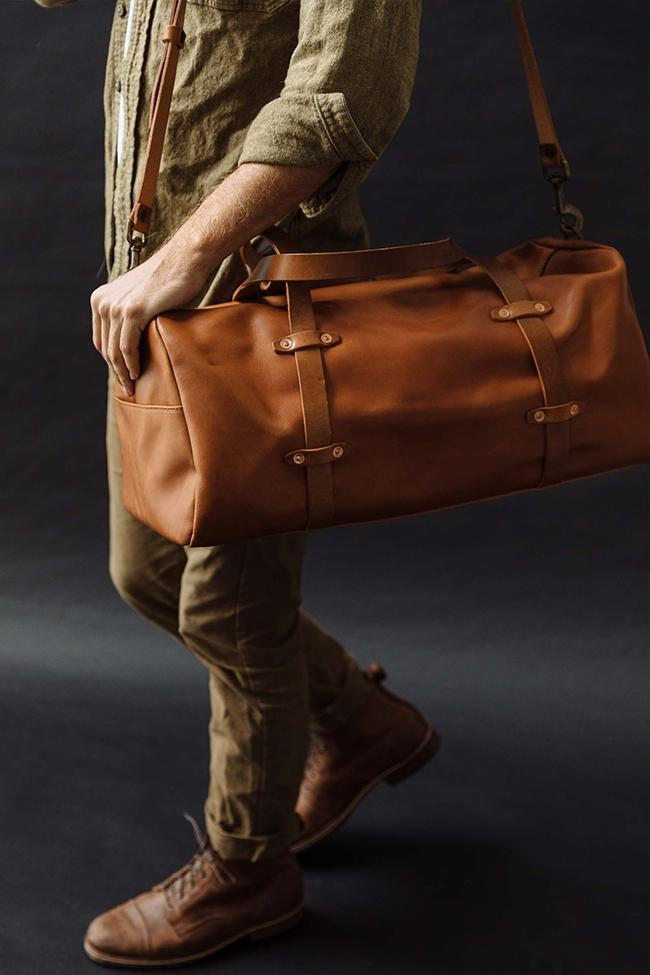 Tan Leather Weekender on Black