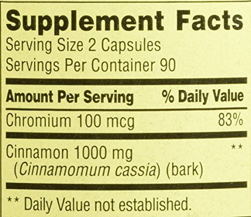 Spring Valley - Cinnamon 500mg Plus Chromium, Twin Pack, 2 Bottles of 180 Capsules - Whole Choice