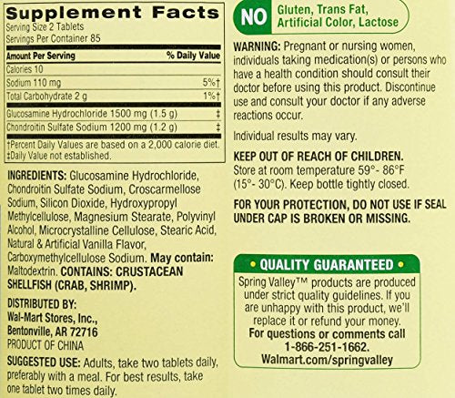 Spring Valley - Glucosamine Chondroitin, Triple Strength, 170 Tablets - Whole Choice