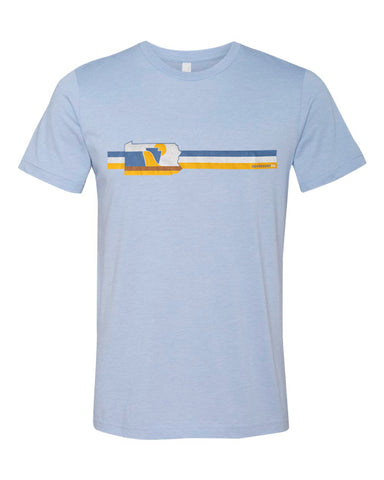 RepresentPA Retro Lines Pennsylvania T-Shirt | Light Blue