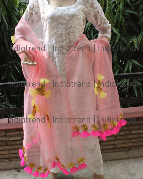 Pastel Pink Tissue Dupatta with Gota Net Work
