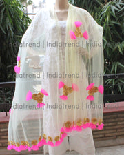 Pastel Yellow Net Dupatta with Gota Net Work