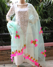 Mint Green Tissue Dupatta with Gota Net Work