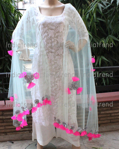 Mint Green Net Dupatta with Gota Net Work