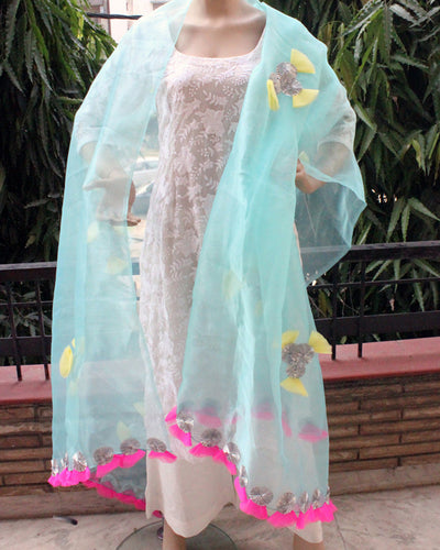Aqua Blue Tissue Dupatta with Gota Net Work