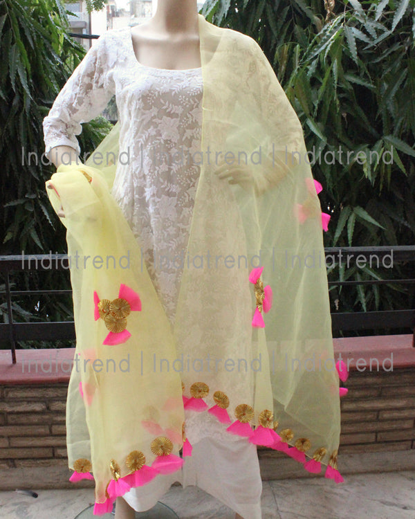Yellow Tissue Dupatta with Gota Net Work