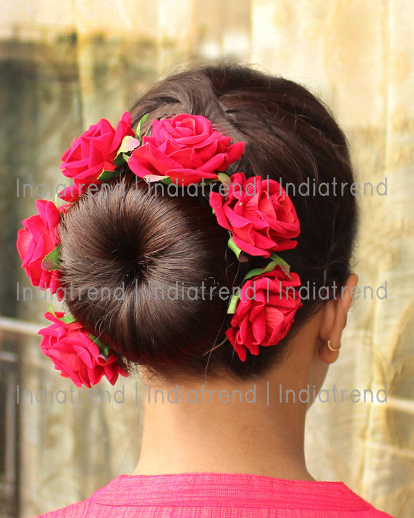 Gul Artificial Flowers Hair Bun Bridal Gajra