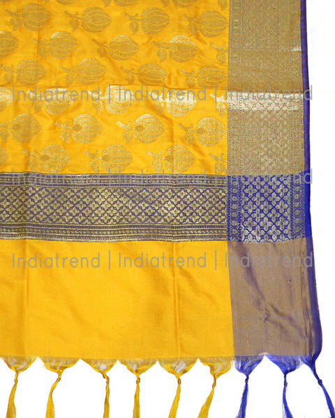Yellow & Blue Banarasi Dupatta