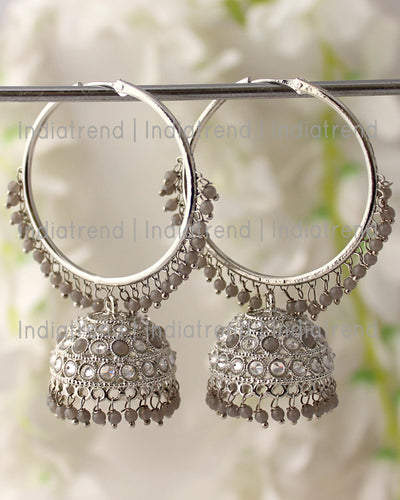 Antra Jhumki / Hoop Earrings (Silver)