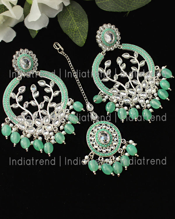 Inayat Earrings & Tikka (Silver)