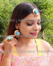 Rozina Floral Earrrings Tikka Ring Set